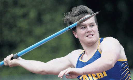 ?? PHOTO: GERARD O'BRIEN ?? Looking far . . . Taieri javelin thrower Anton Schroder looks to throw at the Caledonian Ground on Saturday.