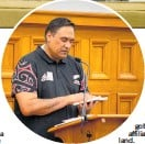 ?? PHOTO / TROY MALCOLM ?? Anthony Tipene-Matua describes his ancestral home at the Porangahau marae in his poem, Stained Rafters at the launch of Somewhere, a Cleaner — Their voices in poetry and prose.