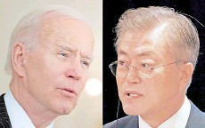 ?? — AFP photo ?? A combo photo of Biden (left) and Moon.