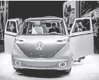?? JEFFREY M. SMITH/ USA TODAY NETWORK ?? The Volkswagen ID Buzz concept car at the 2017 North American International Auto Show in Detroit.