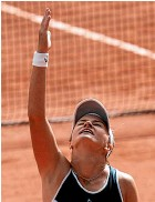 ??  ?? Barbora Krejcikova looks skyward after winning the French Open, a victory inspired by the memory of her late coach, Jana Novotna.