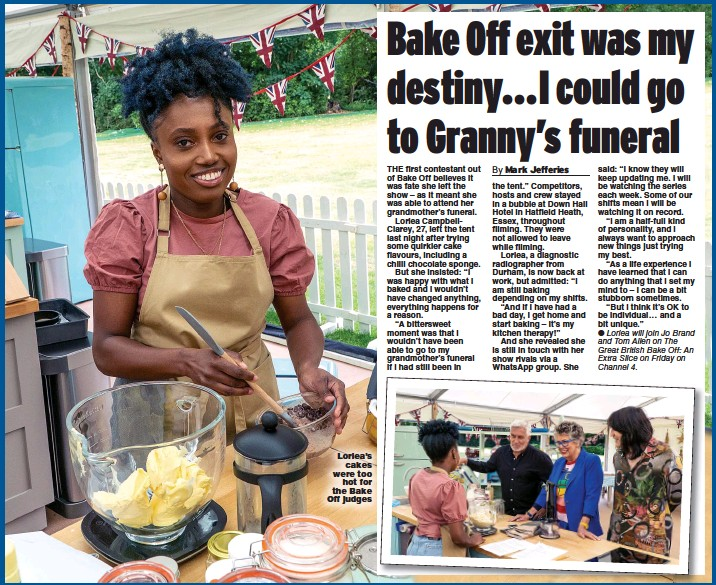??  ?? Loriea's cakes were too hot for the Bake Off judges