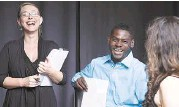 """?? Courtesy ?? Director Jacey Little, left, and actor Atseko Factor share a laugh with playwright Cressandra Thibodeaux, while rehearsing """"Dialogues on Grace."""""""