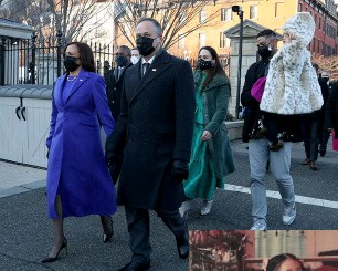 ??  ?? Above: The new Vice President walks with husband Doug Emhoff and family members on Inauguration Day 2021. Right: Kamala and Maya have maintained a close bond throughout their lives.