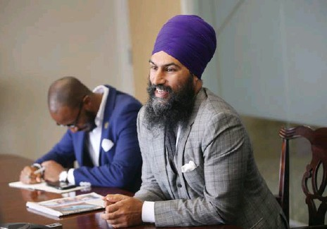 ?? VINCE TALOTTA/TORONTO STAR ?? NDP leadership candidate Jagmeet Singh met with the Toronto Star editorial board to discuss his platform and campaign.