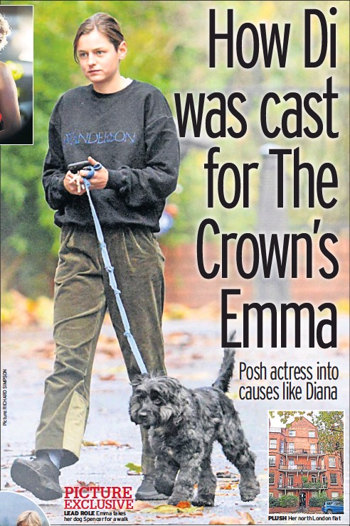 ??  ?? PICTURE EXCLUSIVE LEAD ROLE Emma takes her dog Spencer for a walk PLUSH Her north London flat