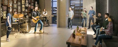 ?? DANIELS CORPORATIO­N ?? Daniels Corporatio­n's Lighthouse Tower condo developmen­t includes luxury amenities, such as a jam studio where musicians can play and rehearse.