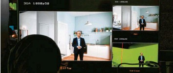 ?? Fotos: Grohe ?? Wie ein richtiger Raum sieht ein digitaler Messestand bei Grohe aus. Klickt man im Netz auf die Armaturen, gibt es mehr Infos. Für die Video‰aufnahmen stand das Team in einem grünen Studio, die Bilder werden später hinzugefügt.
