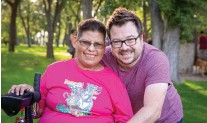 ?? PHOTO: COR ?? Creative Options Regina (COR) is focussed on supporting people experiencing disability through a culture of gentleness. COR executive director Michael Lavis is pictured here with client Ruby Walker.
