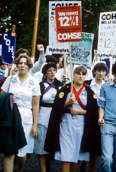??  ?? Nurses protest over pay and campaign for a 12 per cent rise, 1982