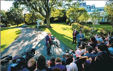 ?? Jim Lo Scalzo EPA/Shutterstock ?? DEVELOPMENTS at the Trump White House are mirroring those that led to President Nixon's resignation.