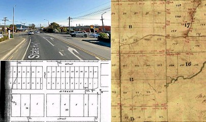 ??  ?? State Highway 1 (Street in capital letters on the bottom map) does a kink at its Springfield Rd intersection, marked as point D. The plan on the right is part of James Drake's survey work in Milton in 1847. The kink existed even back then.