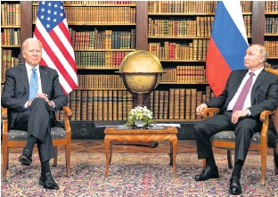 ?? REUTERS ?? U.S. President Joe Biden and Russia's President Vladimir Putin meet for the U.S.-Russia summit at Villa La Grange in Geneva, Switzerland, on Wednesday.