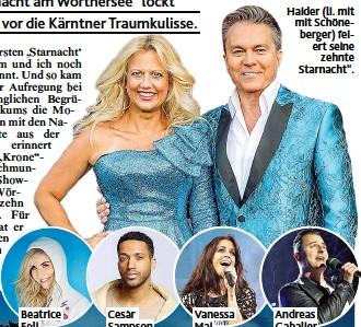 """??  ?? Haider ( li. mit mit Schöneberger) feiert seine zehnte Starnacht""""."""