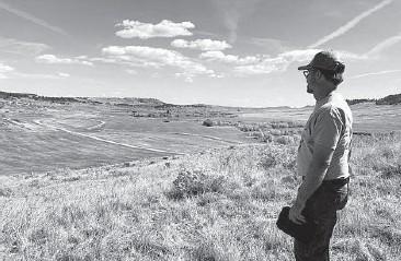?? PAUL HAMBY/THE BILLINGS GAZETTE 2015 ?? Archaeologist Jarrod Burks looks over Rosebud Battlefield State Park in Montana.