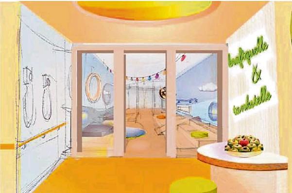 ?? Repro: Innenarchitekturbüro Gebel ?? So könnte sie aussehen: eine Station der neuen Kinderklinik. Im Herbst dieses Jahres soll sie fertig sein. Domizil ist die oberste Etage im Haus 7, direkt unter der Hubschrauberplattform.
