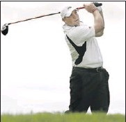 ?? Star photo: Scott Webster ?? ON LINE: St. Clair's Chris Hill tees off on the 14th hole Monday during the Lancer Invitational Golf Tournament at Sutton Creek. Hill fired a six-over 78 as the Saints finished sixth.