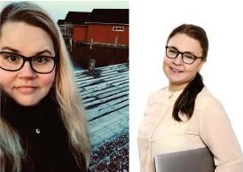 ?? FOTO: TIINA FJELLANDER, ANNA PURTSI. MONTAGE HBL ?? Företagarna Tiina Fjellander och Minttu Vainio står bakom Å podi.
