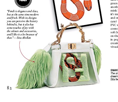"""??  ?? """"Fendi is elegance and class, but at the same time modern and fresh. With its designs you can perceive the history behind it, but it also has some touches of joy with the colours and accessories, and I like it a lot because of that.""""—sita Abellan SNAKE CHARMER The snsnake symbol represents the dream, the surrealism; it is the animal Sita feefeels most spiritually related to"""