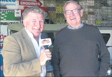 ??  ?? ■ The show's host Mark 'Fletch' Fletcher with John Thomas in his shed.