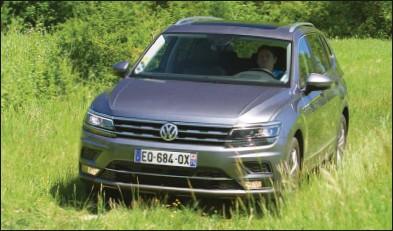??  ?? Le Tiguan Allspace ne voit pas seulement sa longueur augmentée, sa face avant est aussi revue avec un capot plus épais. Volkswagen Tiguan Allspace 2.0 TDI 150 DSG7 4Motion Carat exclusive 49 640 € 150 ch CO2 : 136 g/km