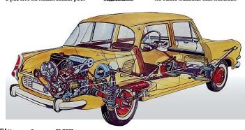 ??  ?? Первый заднемоторный автомобиль из Млада Болеслава с несущим кузовом – Skoda 1000 MB с двигателем жидкостного охлаждения и независимыми пружинными подвесками.