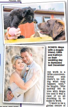 ?? Pic­tures: BBC ?? BONDS: Maya with a dog­gie friend; Giles and Kathryn on their wed­ding day in Bar­ba­dos last De­cem­ber