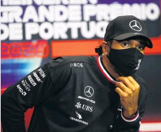 ?? PHOTO: GETTY IMAGES ?? Not happy . . . UK driver Lewis Hamilton of Mercedes GP talks during the drivers' press conference ahead of the F1 Grand Prix of Portugal at Autodromo Internacional do Algarve yesterday in Portimao.