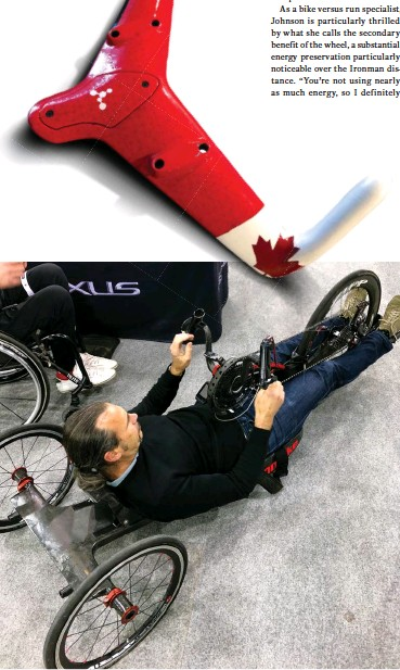 ??  ?? TOP Nicole van Beurden's custom carbon handlebar adaptations for a para cyclist with minimal grip strength LEFT Phil White tests national team athlete Alex Hyndman's handcycle while creating modifications to increase aerodynamics OPPOSITE van Beurden and White get real world feedback from riders like Tamara Jewett, centre
