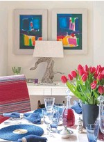 ??  ?? DINING AREA A table lamp and dimmed lighting creates a convivial mood in the evenings. Chairs in Carlow fabric, £101m, Osborne & Little. Blue raffia mats, £14.95 each; Lillian crystal wine goblet, £30 each, both William Yeoward