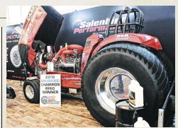 ??  ?? pthough diesel per­for­mance's wel­comed in­fil­tra­tion into the PRI show has con­tin­ued to grow over the last decade, the 2019 event brought even more diver­sity to the ta­ble. Thanks to Salen­bien Per­for­mance and Bran­don Hunt, Hunt's 8,000-pound Su­per Stock trac­tor coined Livin' A Dream was on dis­play, and swivel­ing heads all week­end. Novices to the sport were in awe of this ma­chine's two-stage, triple-turbo ar­range­ment, its abil­ity to pro­duce (and live) at 300-psi of boost, and that the 540ci IH in­line-six pro­duced 7,000 lb-ft of torque on the en­gine dyno.