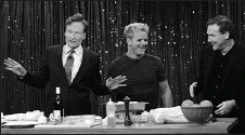 ??  ?? Norm MacDonald, right, has been a frequent guest of talk show host Conan O'Brien, left. He's seen here with fellow guest star, celebrity chef Gordon Ramsay.