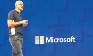 ??  ?? Satya Nadella, CEO of Microsoft Corp, opens the US technology titan's annual Build Conference in Seattle on Wednesday with a focus on a future rich with artificial intelligence that follows people from device to device.