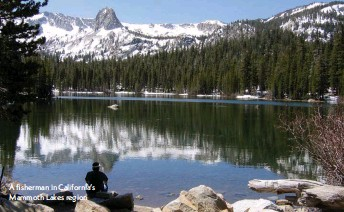 ??  ?? A fisherman in California's Mammoth Lakes region