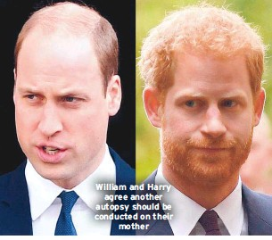 ??  ?? William and Harry agree another autopsy should be conducted on their mother
