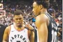 ?? Canadian Press photo ?? San Antonio Spurs' DeMar DeRozan speaks with Toronto Raptors' Kyle Lowry following Spurs 105-104 win in NBA basketball action in Toronto on Sunday.