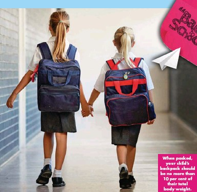 ??  ?? When packed, your child's backpack should be no more than 10 per cent of their total body weight.