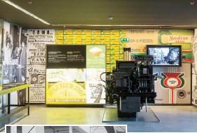 ??  ?? Άποψη της μόνιμης έκθεσης του Μουσείου Μαστίχας Χίου, ενότητα «Παραγωγή- Ένωση Μαστιχοπαραγωγών Χίου». Τυπογραφική μηχανή για την εκτύπωση συσκευασιών. (φωτογραφία Ν. Δανιηλίδης).