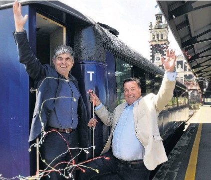 ?? PHOTO: STEPHEN JAQUIERY ?? Out of hibernation . . . Dunedin Mayor Aaron Hawkins (left) and Dunedin City Holdings Ltd chairman Keith Cooper celebrate after the Dunedin City Council agreed to underwrite a limited season of Dunedin Railways services this summer.