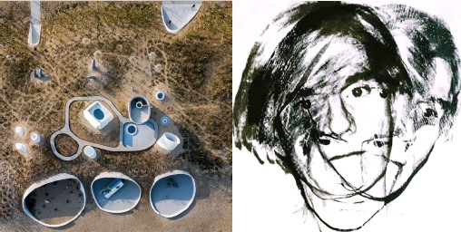 ??  ?? Left: Aerial views of UCCA Dune, a gallery buried beneath the sand in the seaside town of Aranya. Below: Self-portrait (1978) by Andy Warhol, one of the more than 200 Warhol works that will travel to China this year to be exhibited at UCCA in Beijing and UCCA Edge in Shanghai