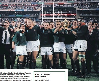 ??  ?? Christiaan Scholtz, Hennie le Roux, Francois Pienaar, James Small, Joost van der Westhuizen, Andre Joubert, Mark Andrews and Kobus Wiese after winning the 1995 Rugby World Cup 15-12 against New Zealand at Ellis Park in June 1995. Photos: Wessel Oosthuizen/Gallo Images
