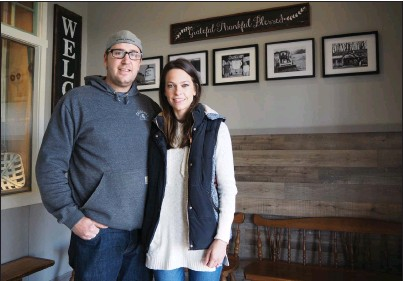 ?? Photos by Joseph B. Nadeau ?? Jonathan and Heather Branchaud are re-opening the Coffee & Cream restaurant in a new location. It formerly operated on Greenville road until a 2017 fire destroyed the building. Two years later, they are ready to open for business in Slatersville Plaza