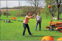 ?? MARCELLA PEYRE-FERRY — DAILY LOCAL NEWS ?? Farm owners Rhonda and Jeff Stoltzfus toss pumpkins.