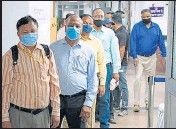 ??  ?? People wait in line to register during the administering of the Covaxin vaccine in New Delhi.