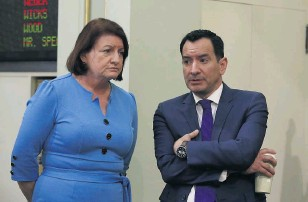 ?? FILE PHOTO: RICH PEDRONCELL­I — THE ASSOCIATED PRESS ?? In this Feb. 19, 2020, file photo, Senate President Pro Tem Toni Atkins, of San Diego, left, and Assembly Speaker Anthony Rendon, of Lakewood, are shown at the Capitol in Sacramento.