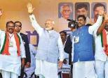 ?? PTI ?? Prime Minister Narendra Modi waves to the crowd during a rally for his Bharatiya Janata Party in Nizamabad on Tuesday.