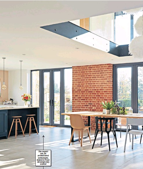 ??  ?? The couple's son, an architectural technologist, helped to create the design they wanted Property newsletter The couple installed an eco-friendly air-source heat pump for £6,000 The plumbing was done for £7,000 and was one of the few jobs that Mr Williams had to get help with