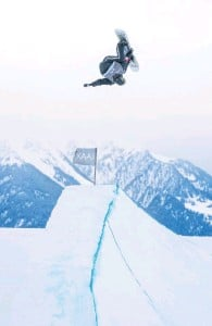 ?? PHOTO: SUPPLIED ?? Up and at 'em . . . Wanaka's Zoi SadowskiSynnott on her way to second place in the Laax Open FIS Slopestyle World Cup competition in Switzerland at the weekend.