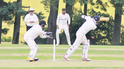 ?? David Phillips ?? Back in action It was a joy to see Peter J Drummond back after injury keeping wicket for Meigle in their home match against Stoneywood. Pic: