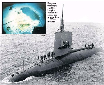 ?? By Lt. John R. Holland via U.S. Naval Historical Center ?? Lost at sea: The USS Scorpion sails near Naples, Italy, on April 10, 1968. The Scorpion was lost with all hands.